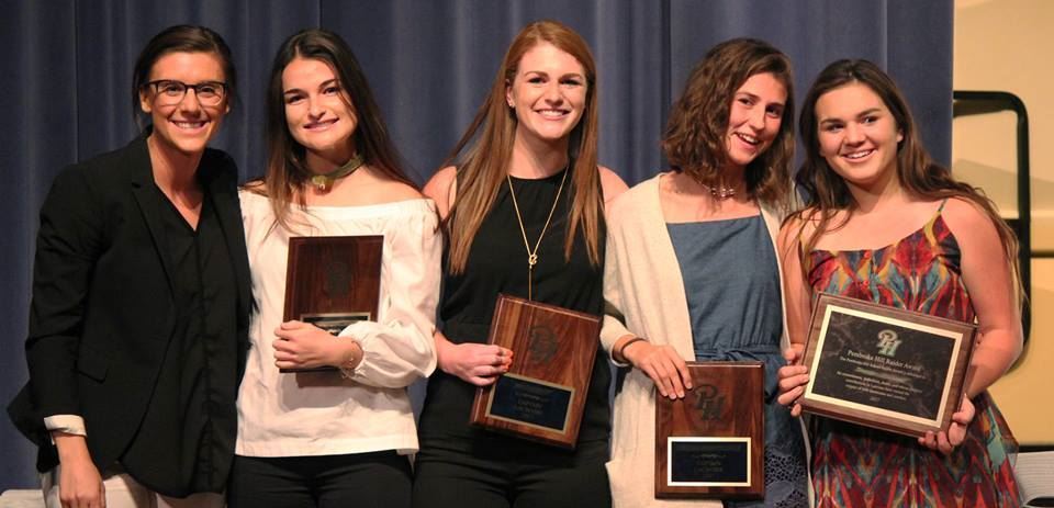 Five Pembroke Hill students pose with award plaques