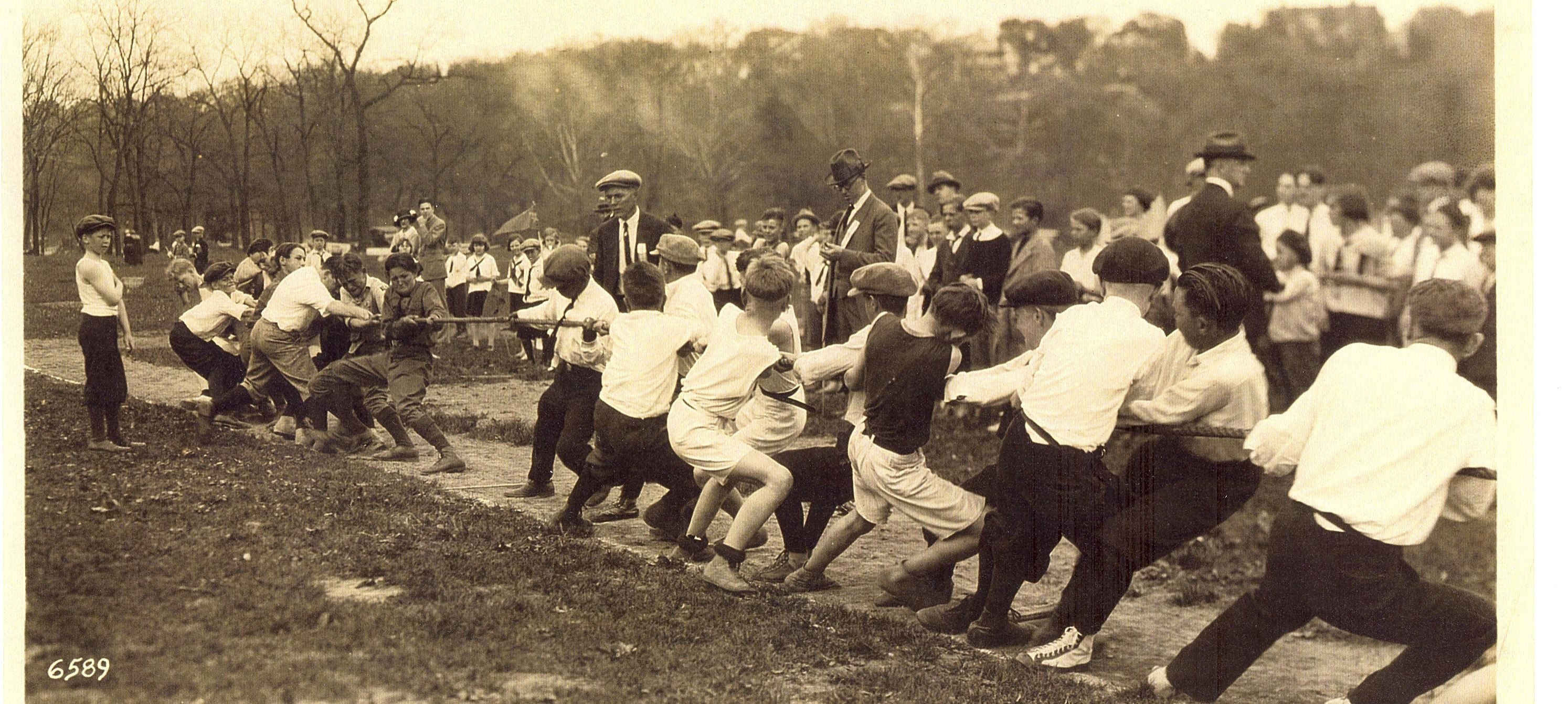 Historic photo of tug of war game from Pembroke Hill archives